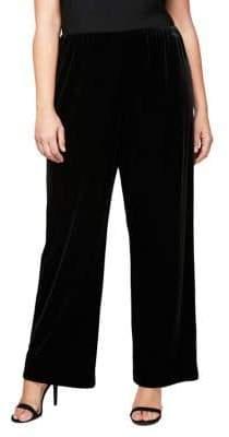 Alex Evenings Plus Wide-Leg Velvet Pants