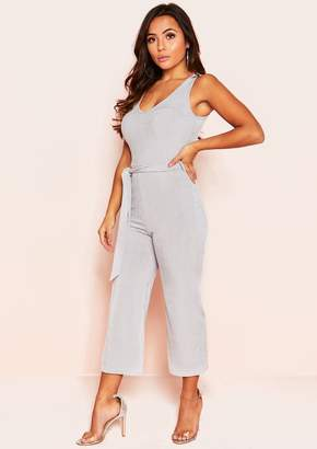 66453192a51 Missy Empire Missyempire Reva Grey Ribbed Belted Culotte Jumpsuit
