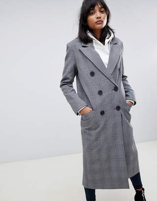 Asos Design DESIGN maxi check coat