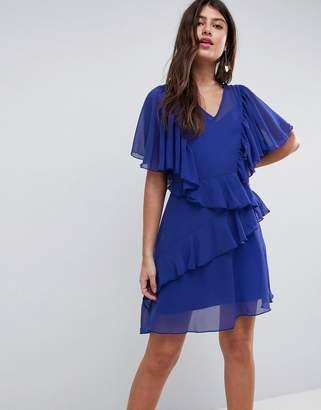 Asos DESIGN V Neck Ruffle mini dress