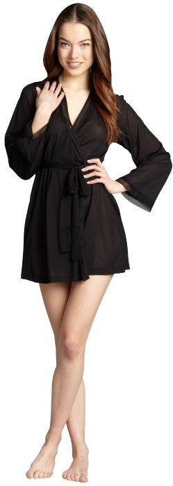 OnGossamer black mesh side tie wrap front bell sleeve robe