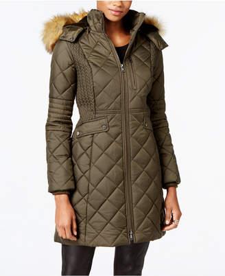 Jones New York Faux-Fur-Trim Quilted Down Coat $300 thestylecure.com