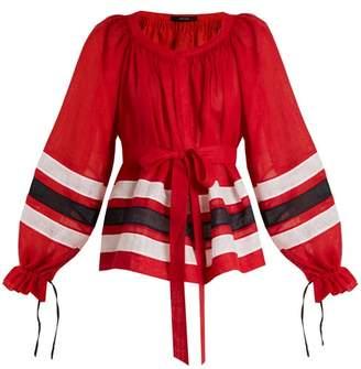Vita Kin - Maldives Striped Lightweight Linen Blouse - Womens - Red Multi