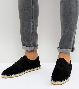 Frank Wright Wide Fit Lace Up Espadrilles In Black Suede
