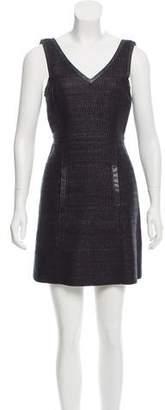 Tibi Leather-Trimmed A-Line Dress