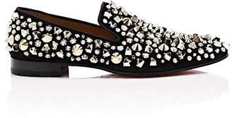 Christian Louboutin Men's Dandelion Suede Venetian Loafers - Black, Gold