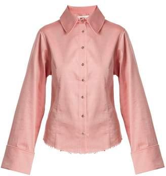 Marques'almeida - Raw Hem Cotton Chambray Shirt - Womens - Light Pink
