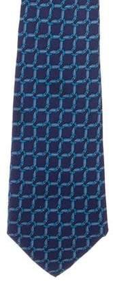 Hermes Horseshoe Chain-Link Print Silk Tie