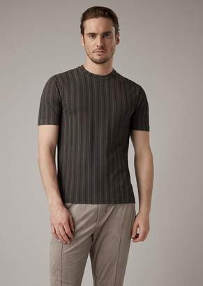 Giorgio Armani Viscose T-Shirt With Chevron Pattern