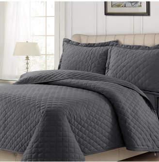 Tribeca Living Cotton Flannel Solid Oversized Quilt Set