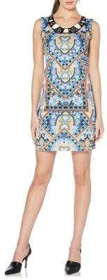 Laundry by Shelli Segal Beaded Neck Printed Shift Dress