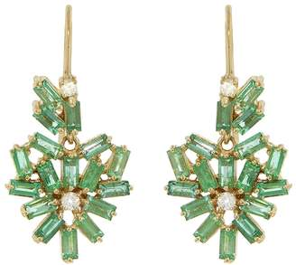 Suzanne Kalan White Diamond and Emerald Baguette Heart Drop Earrings - Yellow Gold