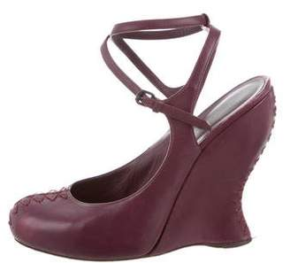 Bottega Veneta Round-Toe Ankle Strap Wedges