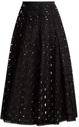 Andrew Gn Broderie Anglaise Cotton Skirt - Womens - Black