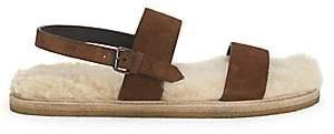 Saint Laurent Women's Noe Nu Pieds Shearling-Lined Leather Sandals