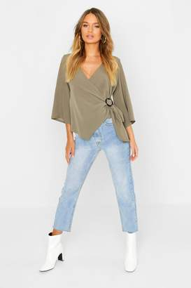 boohoo Wrap Detail Long Sleeve Blouse