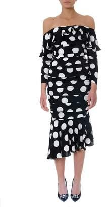 Dolce & Gabbana Black Midi Dress In Polka-dot Print Silk With Ruches