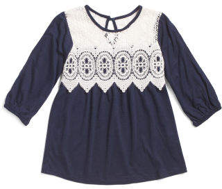 Big Girls Lace Bodice Knit Top