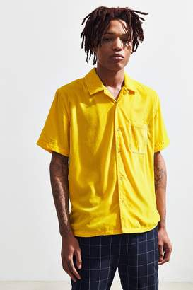 Urban Outfitters Velvet Short Sleeve Button-Down Shirt