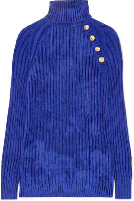 Balmain Button-embellished Ribbed Chenille Turtleneck Sweater - Blue