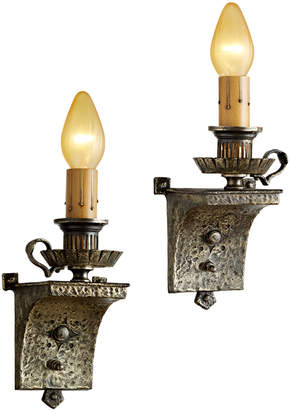 Rejuvenation Pair of Romance Revival Candle Sconces w/ Worn Silver Plated Finish