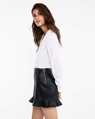 Express Minus The) Leather Ruffle Hem Mini Skirt