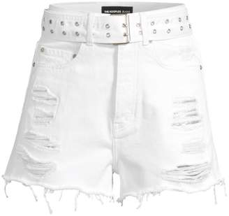 The Kooples Belted & Distressed Denim Cutoff Shorts