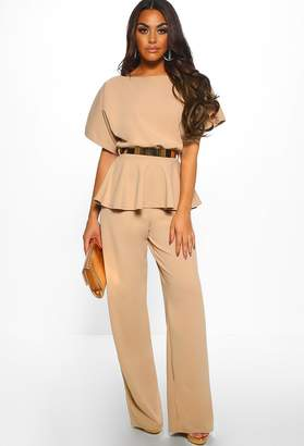 Pink Boutique On The Money Stone Belted Wide Leg Peplum Jumpsuit