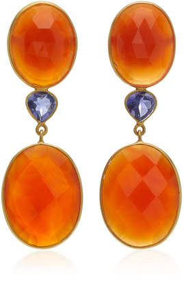 Bahina 18K Gold Carnelian And Lolite Earrings