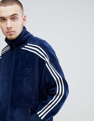 adidas adicolor Velour Track Jacket In Oversized Fit In Navy CW4915