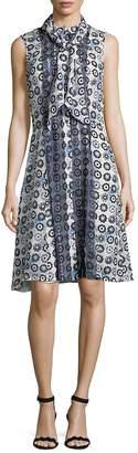 Oscar de la Renta Women's Printed Silk Fit-&-Flare Dress