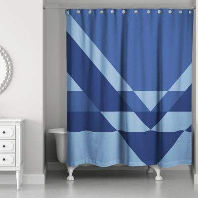 Angled Inverse Shower Curtain in Navy/Blue