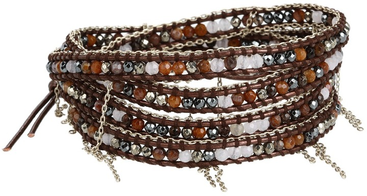 Chan Luu Lavender Mix Wrap Bracelet with Silver Chains (Lavender Mix/Tamba) - Jewelry