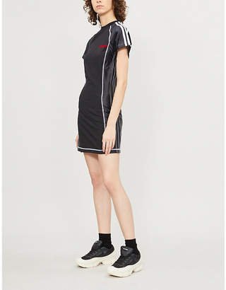Alexander Wang Adidas X Logo-embroidered stretch-cotton and satin dress