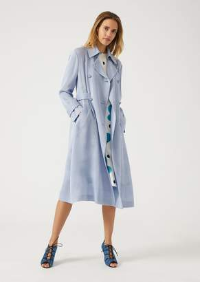 Emporio Armani Trench Coat In Silk And Ottoman