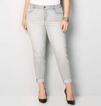 Avenue Crosshatch Cuff Skinny Ankle Jean in Grey