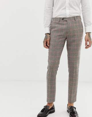 Gianni Feraud skinny fit small check suit pants cropped