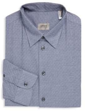 Armani Collezioni Slim-Fit Textured Dress Shirt