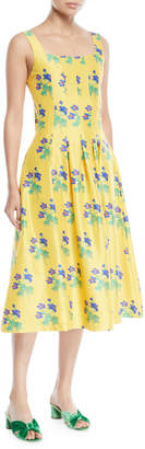 Novis Mumford Square-Neck Sleeveless Fit-and-Flare Floral Print Dress