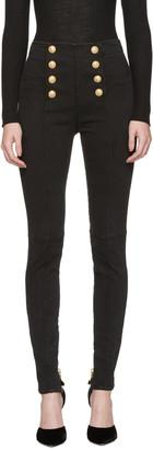 Balmain Black High-Rise Buttoned Jeans $1,365 thestylecure.com
