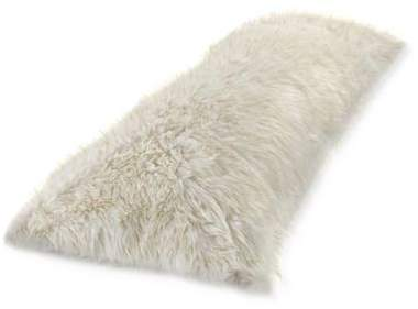 Metallic Faux Fur Body Pillow Cover in White/Gold