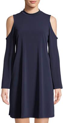Neiman Marcus Cold-Shoulder Jersey Trapeze Dress