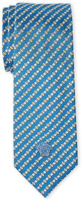 Versace Turquoise Linked Slim Silk Tie