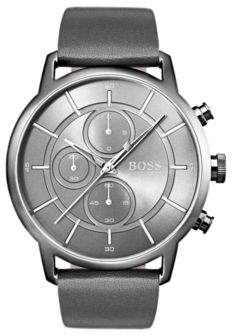BOSS Bauhaus-inspired watch with grey leather strap