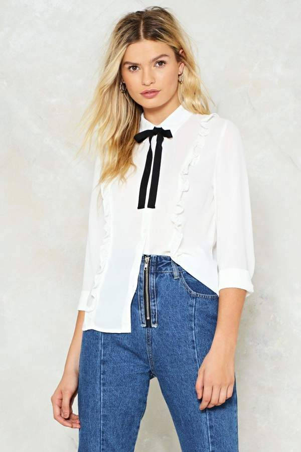 nastygal Waste Bow Time Ruffle Shirt