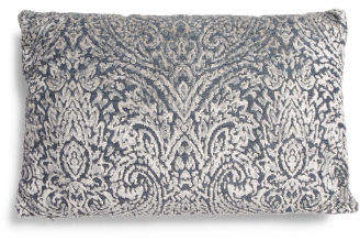 16x24 Paisley Denim Velvet Reversible Pillow