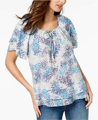 NY Collection Petite Flounce-Trim Peasant Top