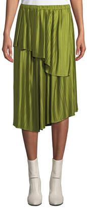 Christian Wijnants Suzu Draped Asymmetric Plisse Midi Skirt