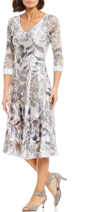 Komarov V Neck Floral Midi Dress