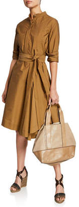 Brunello Cucinelli Crinkled Cotton Long-Sleeve Belted Shirt Dress